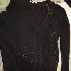 Free People holy perforated black long sleeve top